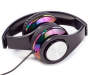 Black Iridescent Stereo Headphones silo side view