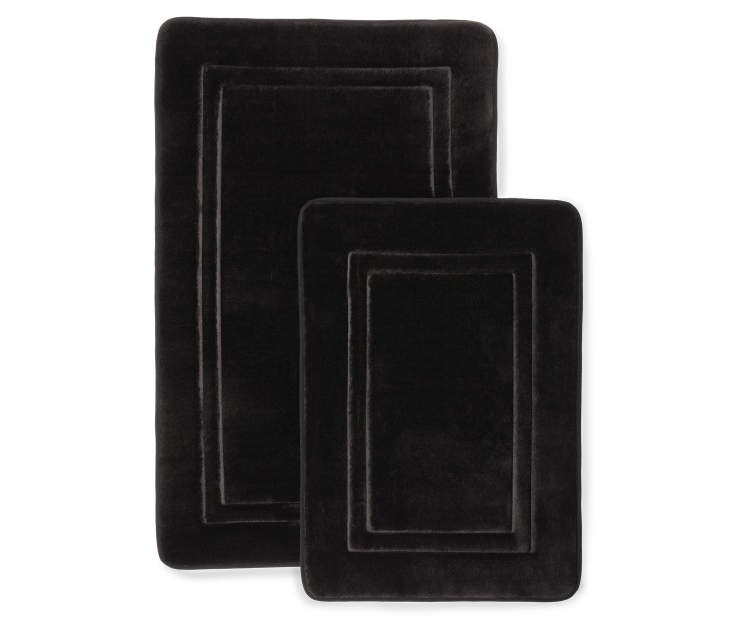 Black Memory Foam Bath Rug Set Silo Image