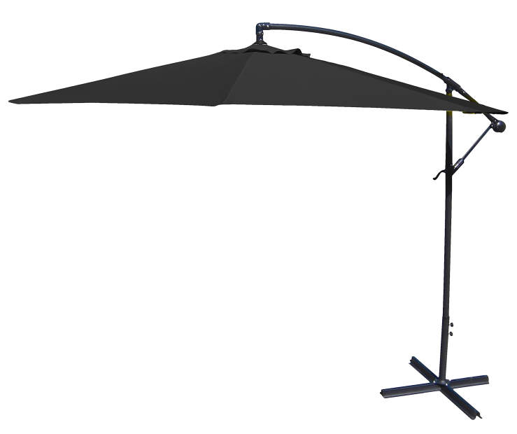 Black Offset Patio Umbrella 10 Feet with Hand Crank Side View Silo Image