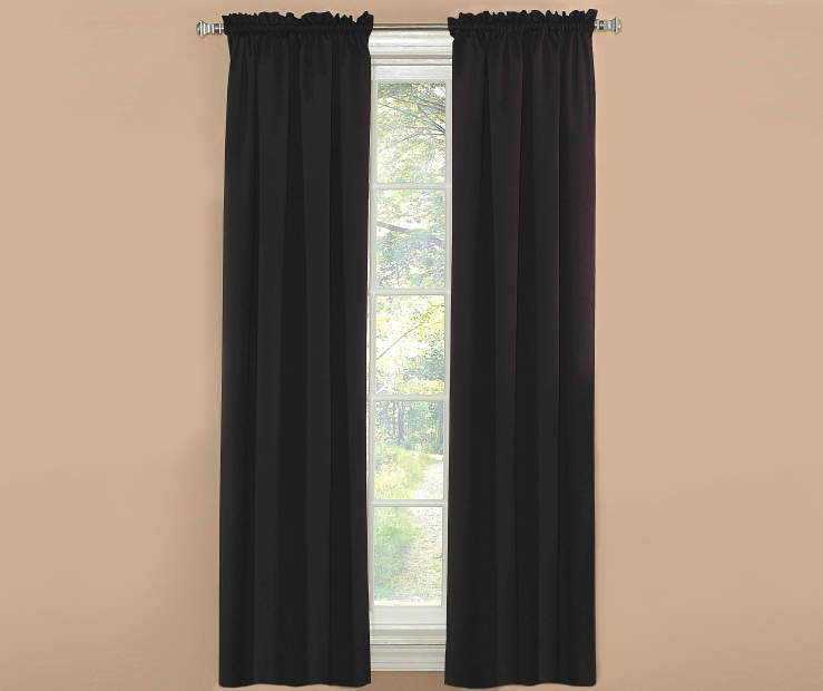 Black Room Darkening Curtain Panel Pair 63 Inches On Window Room Environment Lifestyle Image