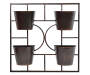 Black Square 4 Pot Wall Metal Planter Silo Front View