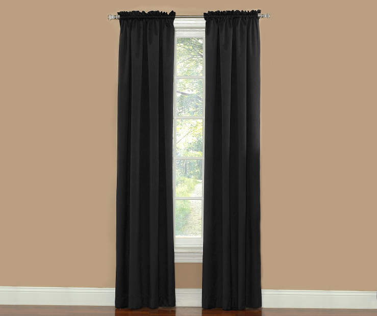 Black Thermal Curtain Panel Pair 84 Inches on Window Room View