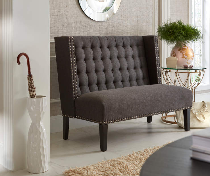 Black Upholstered Banquette Bench bedroom setting
