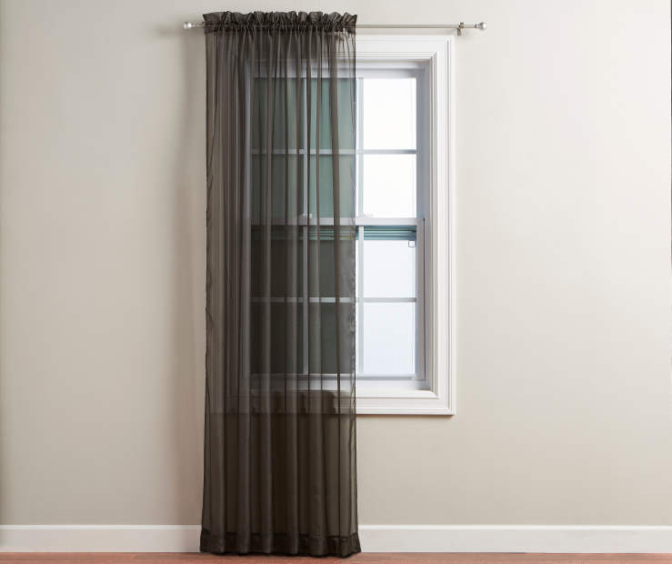 "Black Voile Panel 84"" on Window Room View"