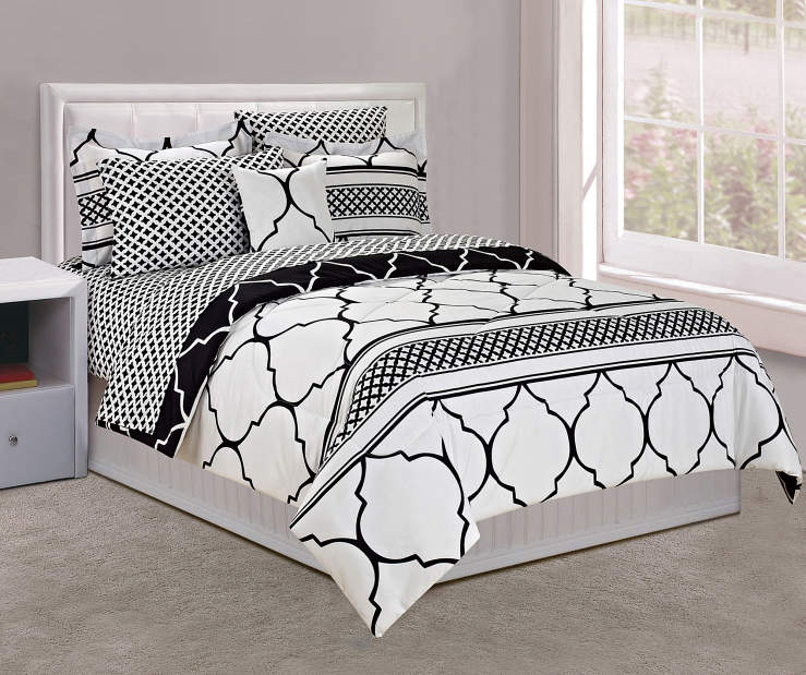 Black White Full 8 Piece Comforter Set lifestyle on Bed Room View