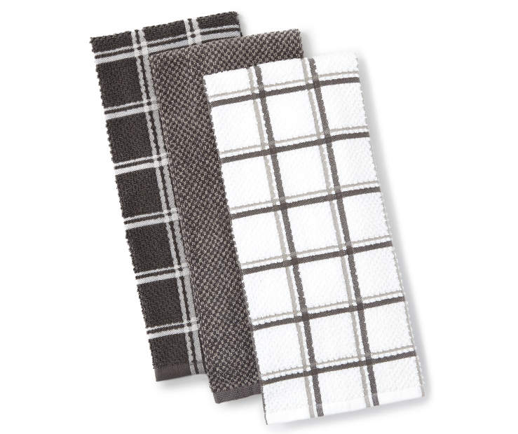 Black and Gray Kitchen Towels 3 Pack Fanned Silo