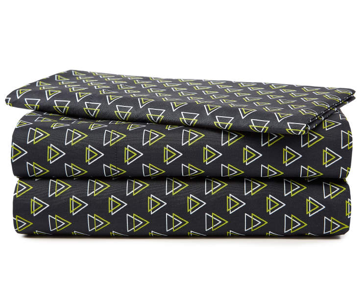 Black and Green Triangles Twin XL 3 Piece Sheet Set silo front