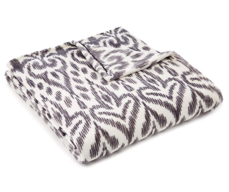 Black and White Damask Velvet Plush Throw silo angled
