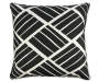 Black and White Raffia Outdoor Throw Pillow 17 inches by 17 inches Silo
