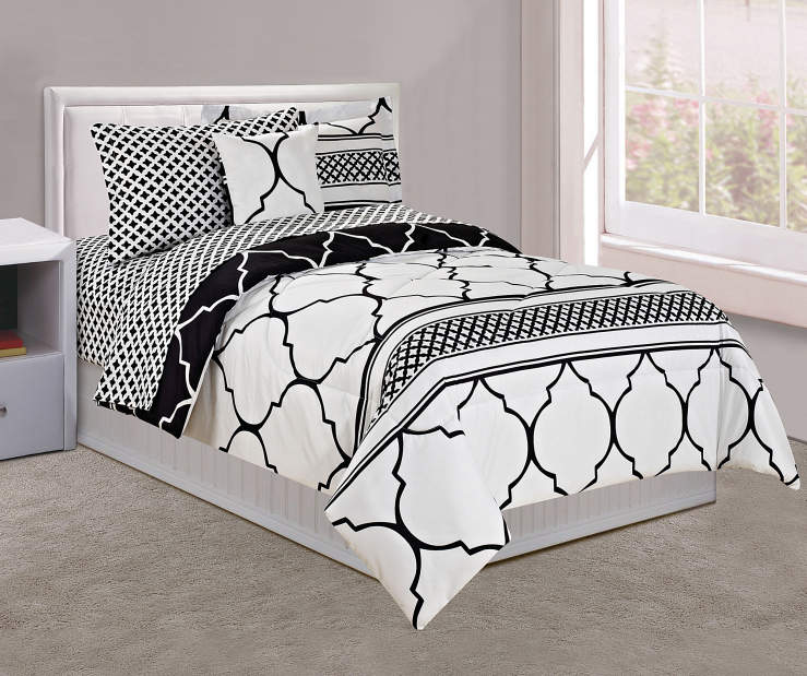 Black and White Tile Twin 6 Piece Comforter Set lifestyle