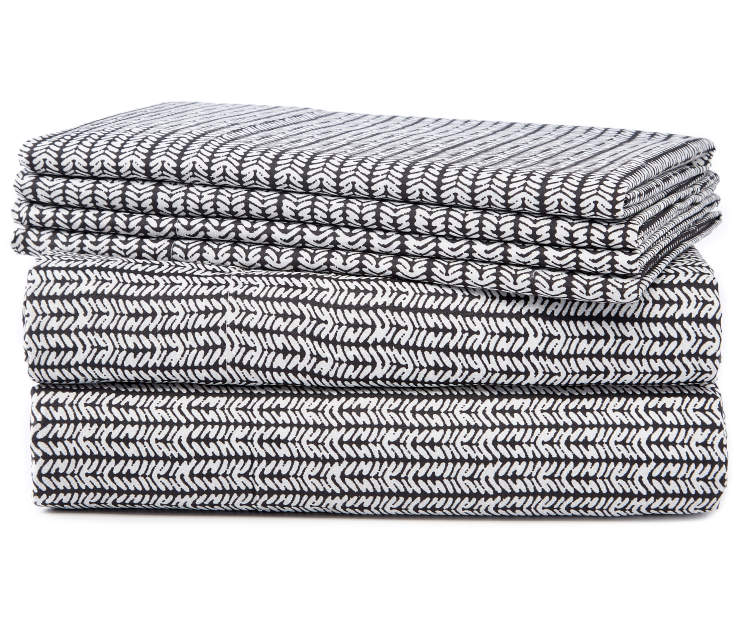 Black and White Tribal Diamond King 6 Piece Sheet Set silo front