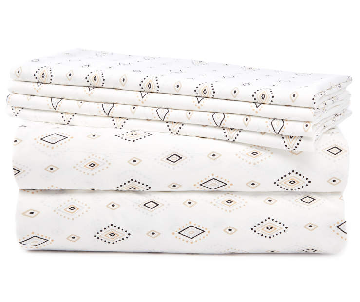 Black and White Tribal Diamond Queen 6 Piece Sheet Set silo front
