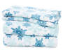 Blue & White Snowflake 4-Piece Fleece Queen Sheet Set Stacked and Folded Silo Image