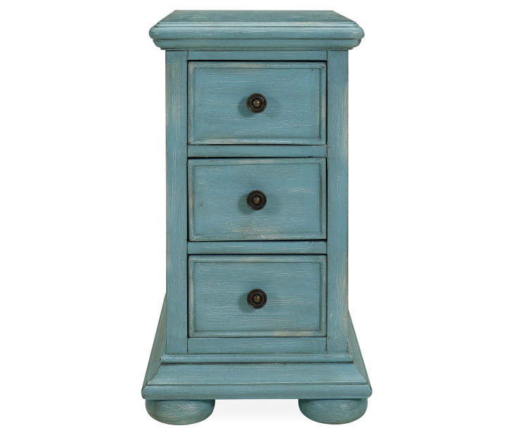 Blue 3 Drawer Chairside Chest silo front