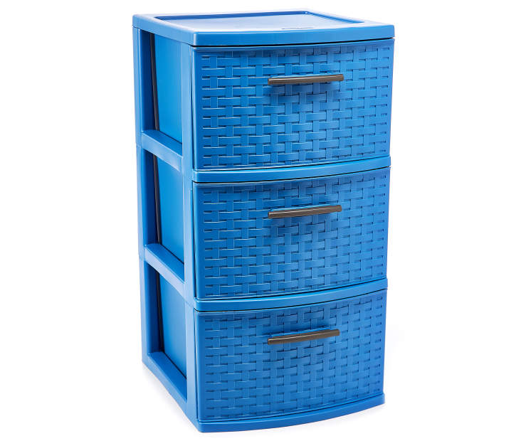 Blue 3 Drawer Weave Tower silo front