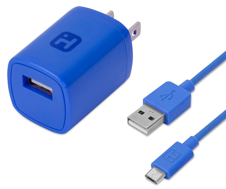 Blue AC Wall Charger with Micro USB Cable Both Pieces Silo