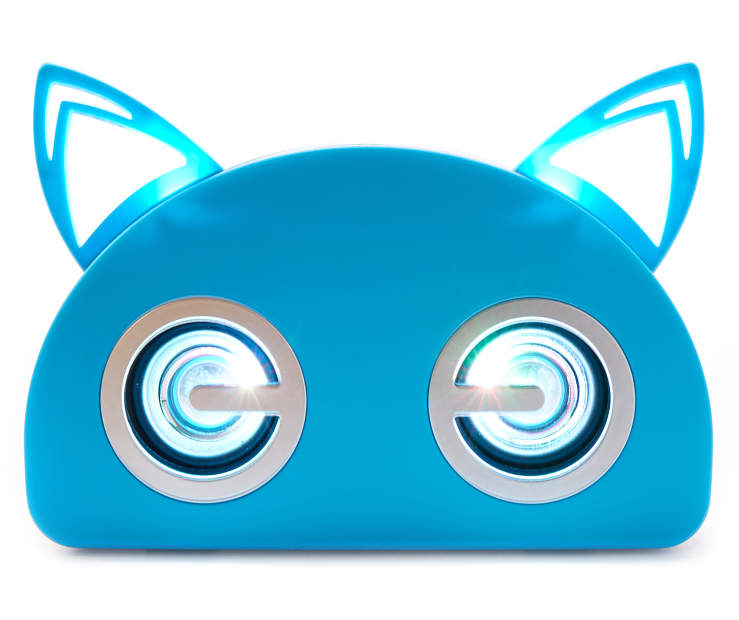 Blue Bluetooth Light-Up Cat Speaker Silo Back