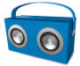 Blue Bluetooth Retro Box Speaker Angled View with Handle Up Silo Image