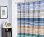 Blue Canyon Stripe Microfiber Shower Curtain 72 Inches in Bathroom Environment Lifestyle Image