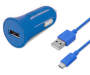 Blue Car Charger with Micro USB Cable Combined Shot Silo Image