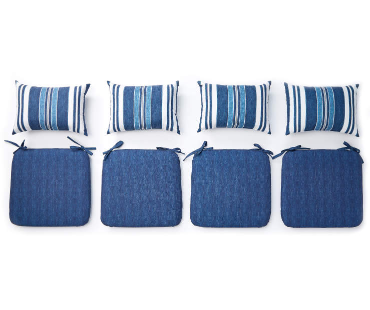 Blue Chair Pad and Pillow 8 Piece Set Silo Overhead View