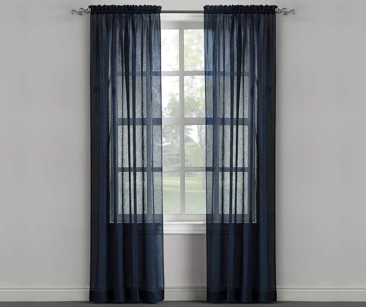 Blue Depths Crushed Single Curtain Panel 84 inches Window Lifestyle