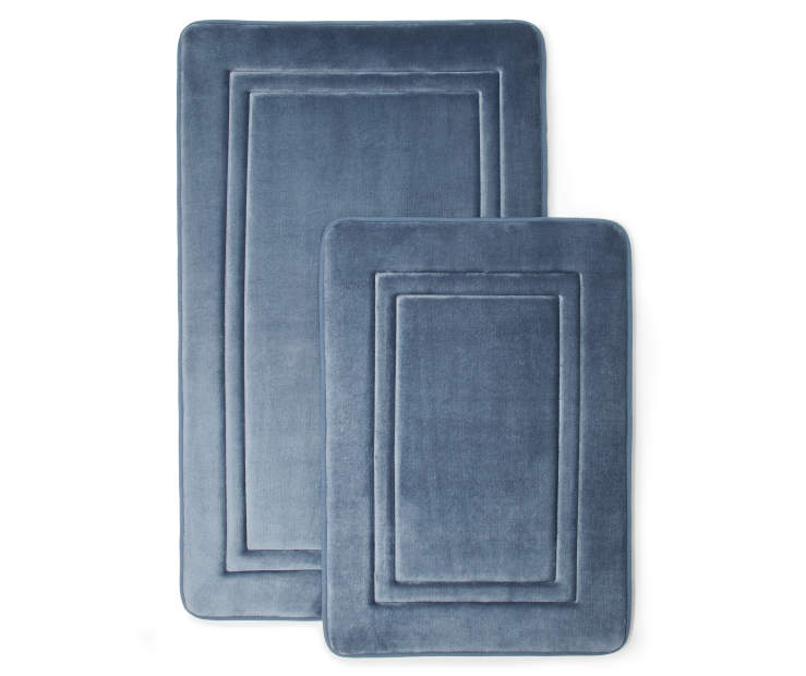 Blue Embossed Memory Foam Bath Rug Set Silo Image