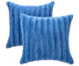Blue Faux Fur Throw Pillows 2 Pack silo front