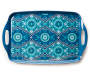 Blue Floral Medallion Melamine Serving Tray silo top view