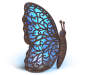 Blue LED Metal Butterfly Solar Light 14 inches SIlo Image Side View