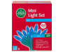 Blue LED Mini Light Set with Green Wire 120 Count silo front package