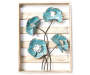 Blue Metal Flower and Plank Framed Plaque silo front