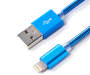 Blue Metal Lightning Charge and Sync Cable 6 feet silo front