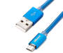 Blue Metal Micro USB Charge and Sync Cable 6 feet silo front