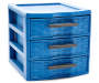 Blue Mini 3 Drawer Desktop Organizer silo front