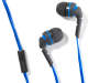 Blue Neons Stereo Earbuds Out of Package with Earbuds and In Line Mic Showing Silo Image