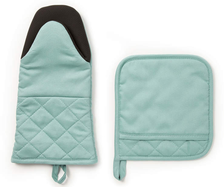 Blue Oven Mitt and Potholder 2-Piece Set Silo