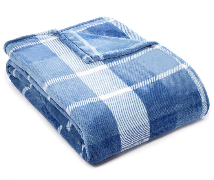 Blue Plaid Queen King Velvet Plush Blanket silo angled