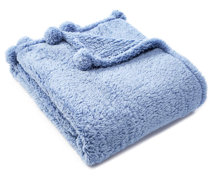 Blue Pom Pom Sherpa Throw silo front