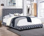 Blue Quatrefoil Upholstered King Bed with Nailhead Trim lifestyle bedroom