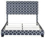 Blue Quatrefoil Upholstered King Bed with Nailhead Trim silo front