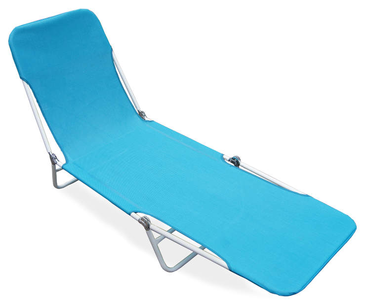 Blue Sling Folding Lounger silo top view angled