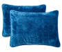 Blue Velvet Plush Full Queen 3 Piece Quilt Set silo front pillows