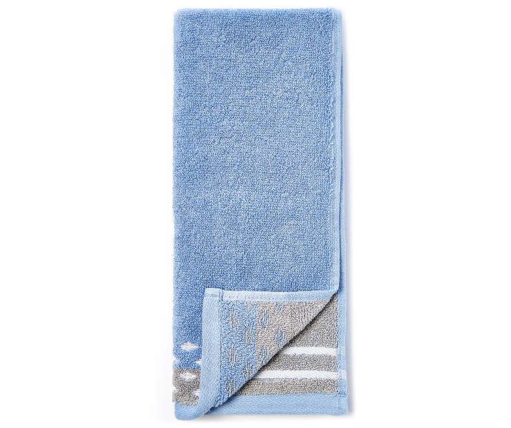 Blue and Gray Jacquard Hand Towel silo front