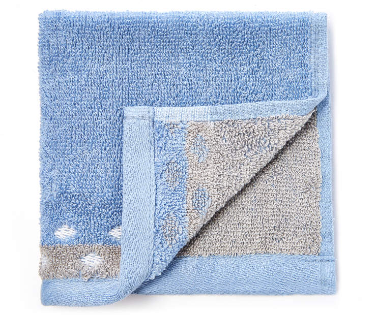 Blue and Gray Jacquard Wash Cloth silo front