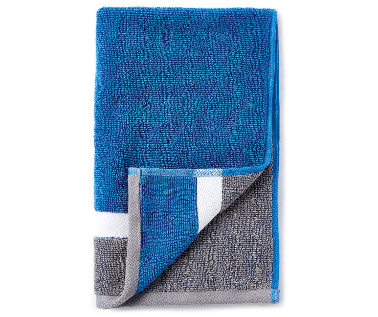 Blue and Gray Reversible Hand Towel silo front