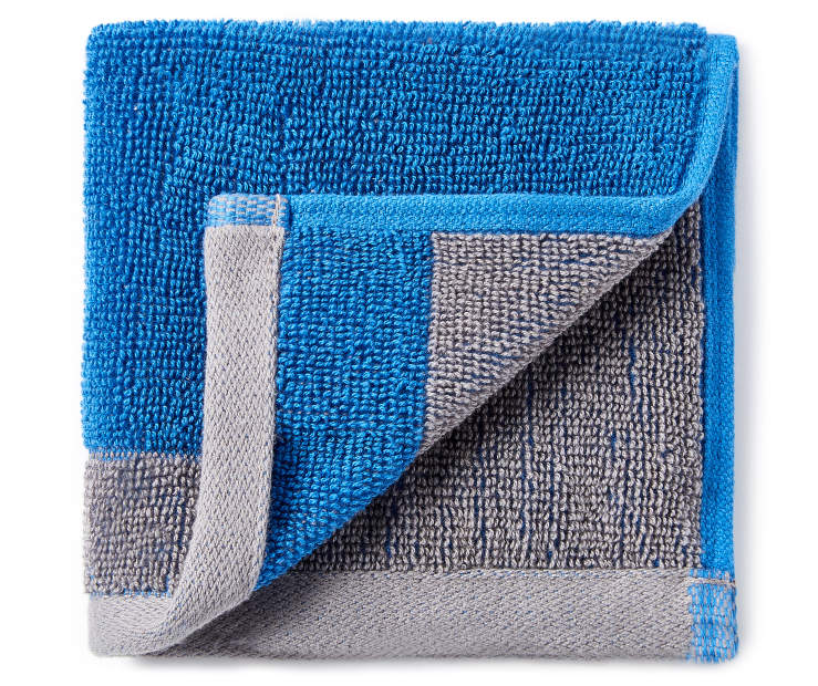 Blue and Gray Reversible Wash Cloth silo front