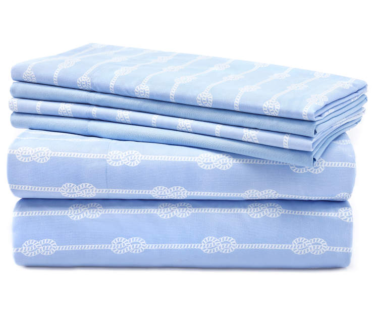 Blue and Gray Rope Stripes 6 Piece Queen Sheet Set silo front
