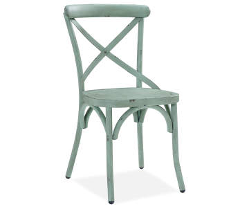 Blue Green Antique Distressed Metal Dining Chair