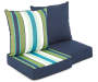 Blue and Green Stripe and Solid Reversible Outdoor Deep Seat and Back Cushion Set Silo Image